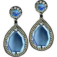 Ranjana Khan Glamorous Teardrop Earrings ($285) ❤ liked on Polyvore featuring jewelry, earrings, earrings jewelry, ranjana khan earrings, dangle earrings, teardrop shaped earrings and glamorous jewelry