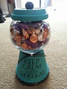 Terra cotta pot candy jar. So many possibilities! !!