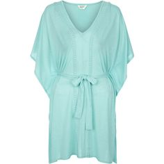 Monsoon Jersey Plait Kaftan ($43) ❤ liked on Polyvore featuring tops, tunics, dresses, kaftan tops, striped top, drape top, blue top and stripe top