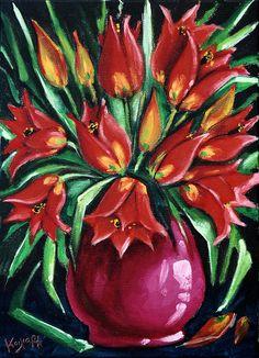 Chios wild tulips acrylic on canvas