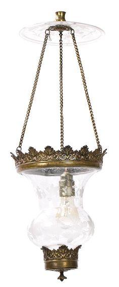 Lámpara-farol en latón y vidrio grabado, del siglo XIX
