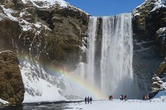 Skogafoss, Iceland - where legend has it a treasure chest is hidden behind the falls.