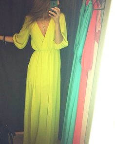 Dress: yellow goddess sheer maxi yellow, maxi , maxi, sheer, solid flow gorgeous clothes neon 3/4