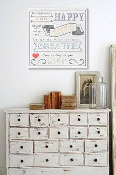 Do what Makes You Happy Distressed White Canvas Wall Art by Inspiring Word Play on @HauteLook by Kendra Jensen
