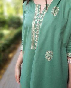 Block printed green kurta set with dupatta - set of three by The Hemming Bird Printed Kurti Designs, Salwar Designs, Kurti Neck Designs, A Line Kurti, Eastern Dresses, Womens Dress Suits, Kurti Patterns, Silk Suit, Embroidery Suits