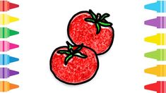 Glitter Tomato how to coloring and drawing for Kids & Color pages Drawing For Kids, Painting For Kids, Fun At Work, Coloring For Kids, Glitter, Make It Yourself, Drawings, Kids Coloring, Coloring Pages For Kids