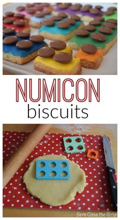Numicon Biscuits - a great recipe for cooking with kids which helps with your math. Looks like a lego cookie treat or snack. Maths Eyfs, Eyfs Classroom, Preschool Math, Teaching Math, Teaching Ideas, Numicon Activities, Nursery Activities, Numeracy, Birthday Activities