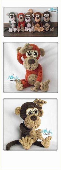 Amigurumi Monkey, crochet pattern, häkelanleitung, haakpatroon, hæklet mønster, modèle crochet: