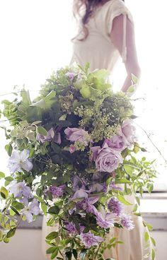 Lush, leafy bouquet of mauve garden roses designed by Cecilia Fox Cascading Wedding Bouquets, Lilac Wedding, Flower Bouquet Wedding, Floral Bouquets, Bridal Bouquets, Trailing Bouquet, Cascade Bouquet, Lilac Bouquet, Brides And Bridesmaids