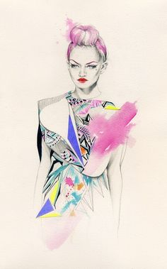Colourful fashion illustration