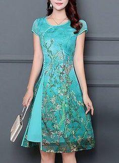 Floral Buttons Cap Sleeve Knee-Length A-line Dress - Fashion Ideas - Fashion  Trends c59deb4c9c6a