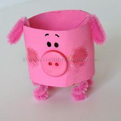 Cardboard Tube Pig: The Farm Series | Crafts by Amanda