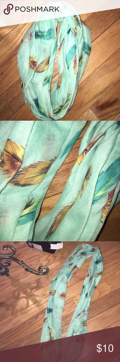 Teal Scarf with Feather Print Great condition infinite Accessories Scarves & Wraps