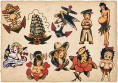 Sailor Jerry Tattoo Art 14 x 11 Photo Sailor Jerry Tattoo Flash, Sailor Tattoos, Traditional Tattoo Old School, Traditional Tattoo Flash, Tattoo Flash Sheet, Tattoo Flash Art, Tattoo Studio, Old Tattoos, Arabic Tattoos
