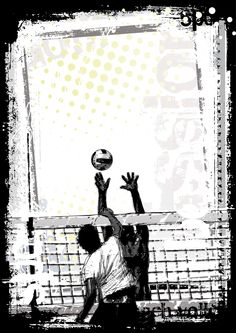 Beach volleyball poster background — Vector by ranker666