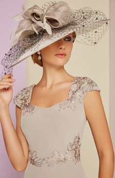 Veni Infantino 991402 Taupe & Ivory Mother's Outfit Sale price is part of Bridal Party Clothes - Veni Infantino 991402 Mother of the Bride Outfit Colour Taupe & Ivory Price Buy online today with next day delivery moneyback guarantee Mother Of The Bride Hats, Mother Of Bride Outfits, Mother Of Groom Dresses, Mob Dresses, Bride Dresses, Fancy Hats, Wedding Hats, Wedding Ideas, Beaded Lace