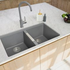 Granite Sink are a superb choice for a robust and much-used sink. Granite Sinks, Pebble Grey, Sink Taps, Wine Cabinets, Chrome, Home Decor, Homemade Home Decor, Decoration Home, Wine Shelves