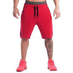 Ouber Men's Casual Drawstring Running Biking Athletic Sweatpant Short Gym Shorts (XL, Red) Learn more by visiting the image link.