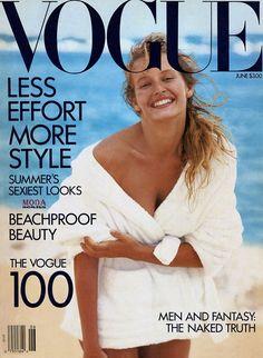 Estelle LeFebure by Peter Lindbergh for Vogue US June 1989 Vogue Magazine Covers, Fashion Magazine Cover, Vogue Covers, Estelle Lefébure, Vogue Us, Peter Lindbergh, Vogue Australia, Cover Model, Vintage Magazines