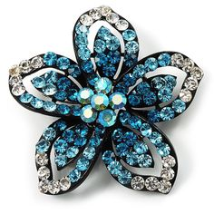 Five Petal Diamante Floral Brooch (BlackandBlue) *** Click on the image for additional details. #BroochesandPins