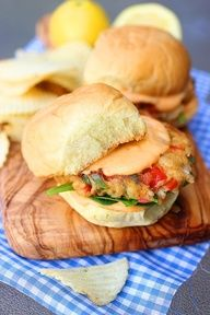 CRAB CAKE SLIDERS WITH SPICY MAYO.