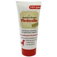 PFERDESALBE Apothekers Original Gold Tube:   Packungsinhalt: 150 ml Gel PZN: 00970106 Hersteller: Equimedis Dr. Jacoby GmbH & Co. KG…