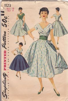 ***TRUE & AUTHENTIC VINTAGE*** ~~~KEEPING THE INTEGRITY OF VINTAGE SEWING PATTERNS~~~ Vintage Sewing Pattern Simplicity 1123 8 Pattern Pieces From 1955 Junior Misses Skirt, Blouse and Cummerbund: The beautifully fitted blouse features a wide V neckline and short kimono sleeves. Blouse