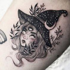Witch Tattoo Designs To Embrace Your Dark Side - My most beautiful tattoo list Body Art Tattoos, New Tattoos, Tribal Tattoos, Sleeve Tattoos, Cool Tattoos, Tattoos Shops, Tatoos, Geometric Tattoos, Awesome Tattoos