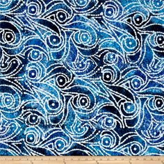 Indian Batik Cascades Scroll Blue from @fabricdotcom  From Textile Creations, this Indian batik is perfect for quilting, apparel and home decor accents. Colors include shades of blue, purple and white.