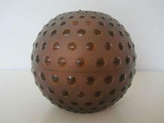 Mid century 60s plastic globe red/brown sphere light lamp shade plastic retro