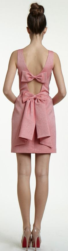 Erin Fetherston Pink Cocktail Dress with 2 Large Bows in Back