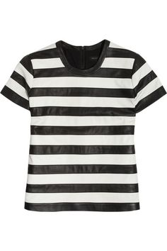 Theory striped leather top