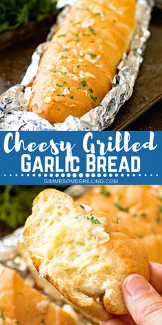 Cheesy Grilled Garlic Bread – Gimme Some Grilling ® Delicious Cheesy Grilled Garlic Bread is made right on your grill! You are going to love this perfectly toasty, crunchy garlic bread with cheese! The perfect side dish for your meal on the grill! Garlic Cheese Bread, Cheesy Garlic Bread, Bread Recipes, Baking Recipes, Amish Recipes, Pizza Recipes, Yummy Recipes, Dessert Recipes, Yummy Food