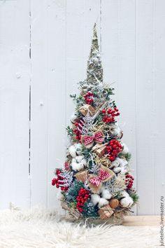 Купить Елочка настольная - разноцветный, красный, бежевый, красный с белым, настольная елка, Новый Год
