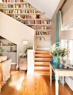 Floor to ceiling bookshelves can work on your stairs, too!