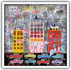 Troy Henriksen - Sunshine - Acrylique et mixte sur toile - 100 x 100 cm - 2014 - Galerie W - Galerie d'Art contemporain à Paris #galeriew #gallery #w #gallery w #troy-henriksen @galeriew