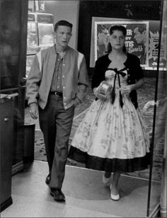 """We love this photograph of a stylish young couple going out to the cinema on a date. It's called """"Going Steady"""" by Leonard McCombe 1950s. Wonderful!  Found at 1950sunlimited.tumblr.com"""