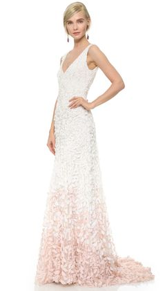 Theia Emma Embroidered Petal Gown - Graduated appliqués create an ombré effect on this Theia gown, offering a textured take on the column silhouette. Tiny, pearlized beads add hints of shimmer.