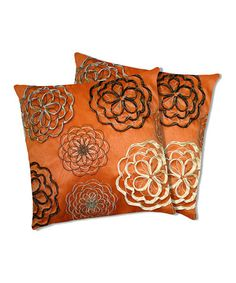 Take a look at this Orange Covina Down Throw Pillow - Set of Two by Lush Décor on today! Throw Pillow Sets, Decorative Throw Pillows, Accent Pillows, Floor Pillows, Down Throw, Orange Pillows, Cotton Pillow, Cotton Fabric, Pillow Sale