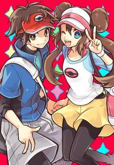 Unova Hilbert and Hilda :) Pokemon Rosa, Pokemon Games, Cute Pokemon, Touko Pokemon, Pokemon Comics, Pokemon Ships, Pokemon Fan Art, Pokemon Adventures Manga, Pokemon Couples