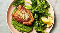 This pan-roasted chicken-thigh dish is a winning combo of warm, crispy skin; cool spinach; and a creamy pea puree, which also makes a great dip for vegetables. Keep an extra batch in the fridge for midday snacking.