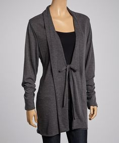 Loving this Charcoal Tie-Front Cardigan on #zulily! #zulilyfinds