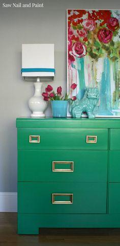 Stunning! Jade Green Mid Century Dresser painted with a paint sprayer!