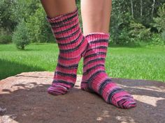 pink black white striped socks  75% wool 25 nylon by SoxnSuch