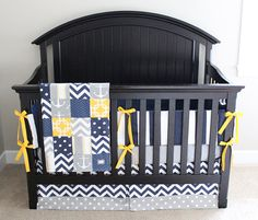 Nautical Crib Bedding Yellow Navy Blue and Grey by GiggleSixBaby