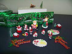 Christmas cake toppers. Some sugar, some plastic and cake frill to make decorating a Christmas cake very easy indeed.  #christmas #cake #topper #cupcake #cute #sugar www.astylishcelebration.com.au