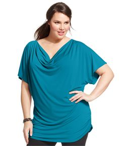 NY Collection Plus Size Short-Sleeve Cowl-Neck Top - Tops - Plus Sizes - Macy's