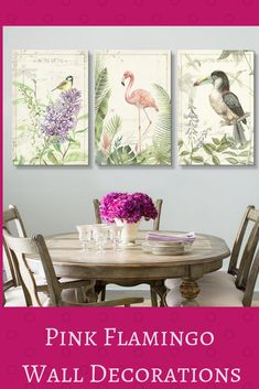 Cute, Eclectic and Fun Pink Flamingo Wall Decorations Flamingo Decor, Pink Flamingos, Home Wall Art, Wall Art Decor, Butterfly Wall Decor, Modern Canvas Art, Kitchens And Bedrooms, Beautiful Interior Design, Wall Decorations