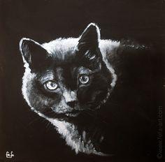 A portrait of a cat Bau   Materials: cardboard, acrylic, inc  Size: 29x29cm