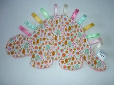 Girly dinosaur baby comforter - soft blanket toy with tags/ribbons - pink girl…